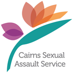 Cairns Sexual Assault Service Logo - purple and orange flower with green leaf