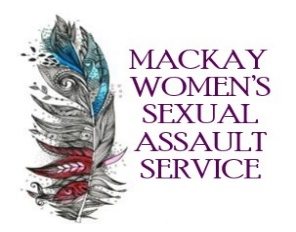 image of feather with blue and red patterns and love hearts then purple text reading mackay womens sexual assault service