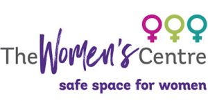 Three female symbols in pink, green and blue, with The Women's Centre, safe space for women