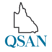 Dark grey outline of the state of Queensland over the letters Q S A N