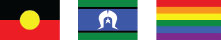 Aboriginal flag, Torres Strait Islander flag, LGBTIQ rainbow flag