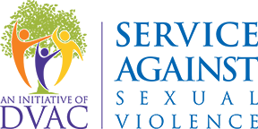 DVAC service against sexual violence logo three figures in yellow purple and orange in front of a green tree