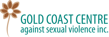 brown flower with teal writing saying gold coast centre against sexual violence inc.