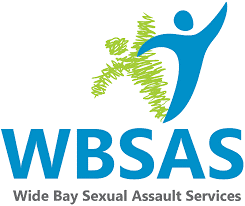 blue person image with green shadow with blue words underneath reading wide bay sexual assault service